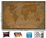 GREAT ART Mapa Mundial histórico Póster XXL - decoración Mural Antiguo del Globo Vendimia Mapa del Mundo Utilizado Mapa del Atlas de la Vieja Escuela