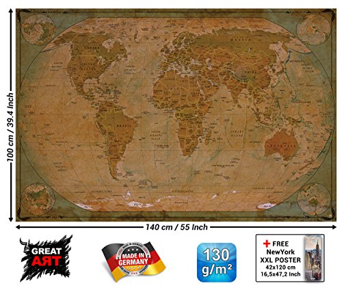 GREAT ART Poster - Historische Weltkarte - Wandbild Dekoration Globus Antik Vintage World Map Used Atlas Landkarte Old School Wandposter Fotoposter Wanddeko Bild Wandgestaltung (140 x 100 cm) (Alte Weltkarte Poster)