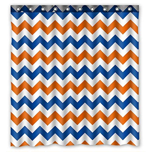 Presock Duschvorhänge, Custom Navy Deep Blue Orange Chevron Polyester Fabric Shower Curtain Bathroom Decor Eco-Friendly Fabric Bathroom Set with Hooks