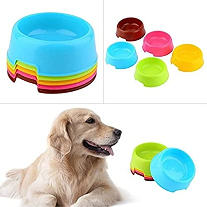 Vikenner Round Pet Dog Cat Plastic Bowl Durable Food Drink Feeder Bowl Candy Colors Feeding Dish Bowl(Blue) 7