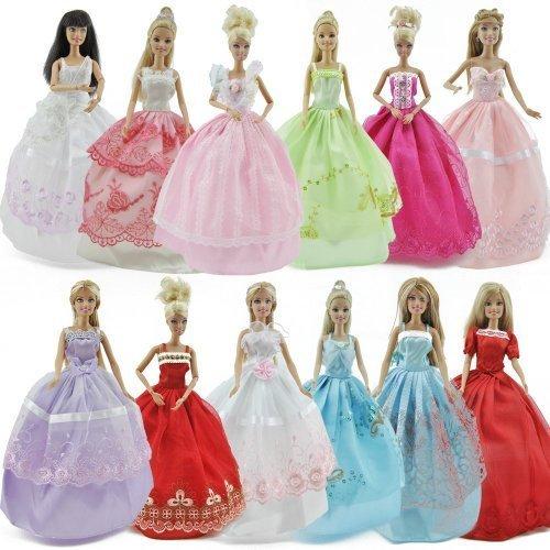 5er Packung Modischer Handgefertigt Abend Kleider Kleidung Kleid Für Barbie-puppe Zufälliger Stil, 5 zubehör & 5 paar schuhe von Fat-catz-copy-catz (Schaufensterpuppe Kleid Abend)