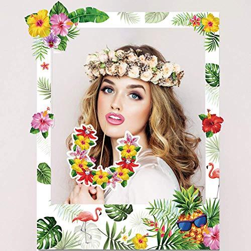 Sayala Hawaiian Photo Booth Selfie Requisiten,Luau Foto Requisiten Flamingo Selfie Photo Frame Sommer Album Foto Requisiten Partyzubehör
