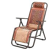 FFCC Poltrone reclinabili in stuoia di bambù per L'Estate Pieghevole Mahjong Mat Siesta Lazy Office Outdoor Portable Beach Fishing Brown Lounge Chair (Colore: B)