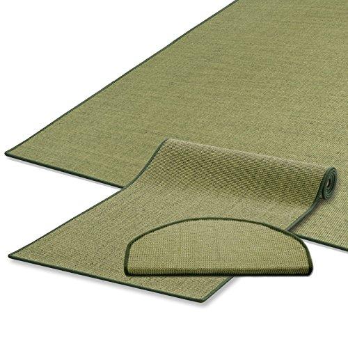 Naturfaser Sisal Stufenmatten | uni grün | Qualitätsprodukt aus Deutschland | kombinierbar mit Sisalläufer | 65x23,5 cm | halbrund | 15er Set