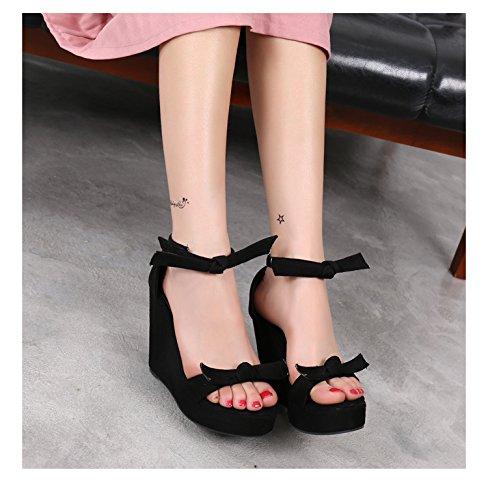 Gtvernh-noir Sandales 8.5cm Femmes D'été Haut Talon Imperméable À L'eau Seulement Des Chaussures Épaisses À Faible Pente Avec Des Chaussures Bowtie Chaussures Pour Femmes, 33 Trente-deux