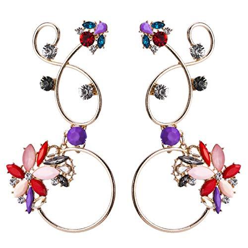 Beixi Zeit Europäischen Und Amerikanischen Stil Übertreibung Mode Reben Verdrehen Blume Form Diamant Ohrringe Bauernhaus Stil Farbe Distaff -