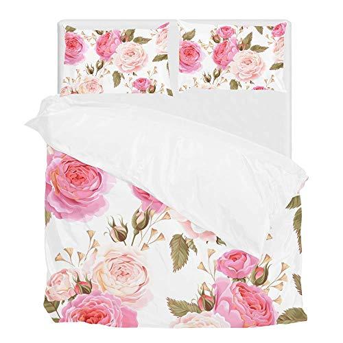 jeansame Bettwäsche Bettwäscheset Bettbezug Set 135x200cm mit 1 Kissenbezug 80x80cm Rosa Pfingstrose Rose Floral Flower Country Garden Einzelgröße -