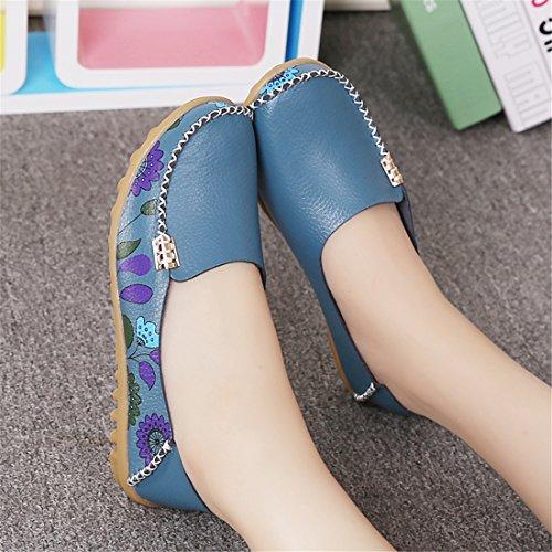 Auspicious beginning Confortable Fleur Imprimé Mocassins Plats Conduite Chaussures Femmes Enceintes Chaussures Bleu