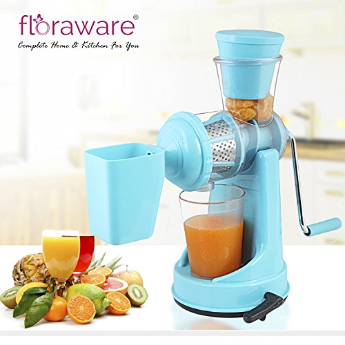Floraware Plastic Fruit and Vegetable Juicer with Waste Collector (Blue)