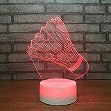 3D Illusione Lampada LED Toccare il pulsante colore o 7 colori cambia gradualmente Decorazione della camera da letto dei bambini regalo del ragazzo decorazione del corridoio badminton