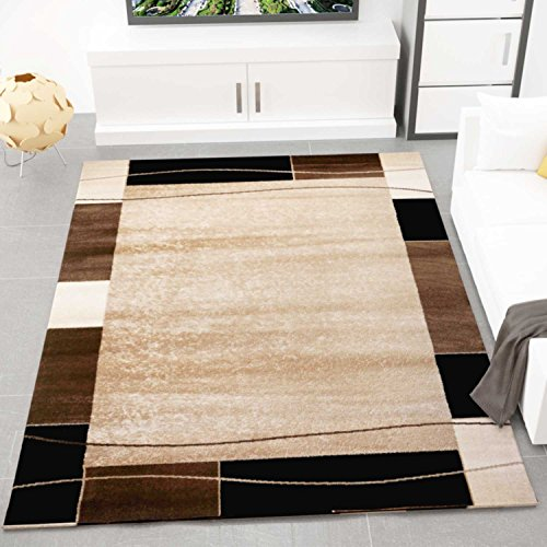 Teppich Kariert Retro Muster Meliert in Braun Schlafzimmer Wohnzimmer - ÖKO TEX Zertifiziert, Maße:200x290 cm