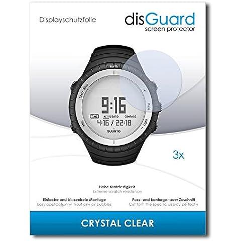 3 x disGuard Crystal Clear Lámina de protección para Suunto Core Glacier Gray - ¡Protección de pantalla cristalina con recubrimiento duro! CALIDAD PREMIUM - Made in Germany