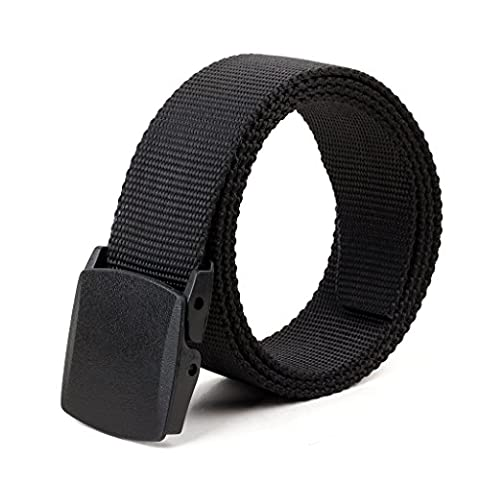 Longwu Canvas Web Belt Flip-Top with Military Plastic Buckle/Tip Solid Color 1.57