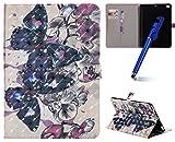 MoreChioce kompatibel mit ipad 6 Hülle Glitzer,kompatibel mit ipad Air 2 Handyhülle,Kreativ 3D Bling Schwarz Schmetterling Schutzhülle Stand Flip Case Smart Cover kompatibel mit ipad 5/Air,EINWEG