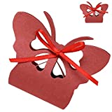 Futaba Laser Cut Butterfly Gifts Candy Boxes - Pack of 12 - Brick Red