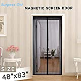 """Surpass Magnetic Screen Door,Full Frame,3 Sizes Avaliable to Fits Door Up To 46""""x82"""",36""""x98"""",36""""x82"""",Instant Bug Mesh,Close Automatically Tightly Hands Free Black (Fits Doors UP TO 46"""" x 82""""MAX)"""