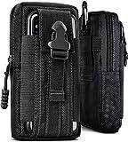 ONEFLOW® Multifunktionale Outdoor Handy-Tasche aus Oxford Nylon für alle Sony Xperia | Universal - mit Gürtel-Halter & Karabiner, Schwarz (Havoc-Black)
