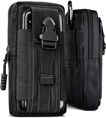 ONEFLOW® Multifunktionale Outdoor Handy-Tasche aus Oxford Nylon für alle LG Modelle | Universal - mit Gürtel-Halter und Karabiner, Schwarz (Havoc-Black)