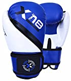 Rex Leather Kid Boxing Glove MMA Muay Thai Punch Bag Sparring Fight Pad Kickboxing Martial Arts Training Gloves(Blue Black White)
