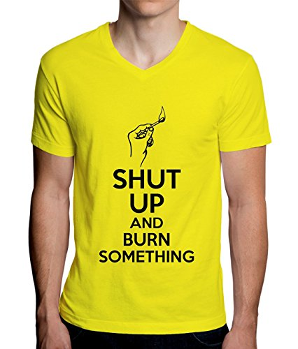 Shut Up And Burn Something Men's V-Neck T-Shirt XX-Large (Starter Blast-match-fire)