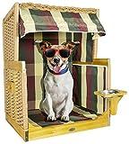 Trendyshop365 Luxus Outdoor Hundestrandkorb für kleine Hunde und Katzen - Trinknapf - Echtholz