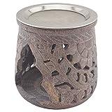 """K W Räucherstövchen aus indischem Speckstein mit Edelstahl-Sieb – Design """"Jamal – H 10 cm"""