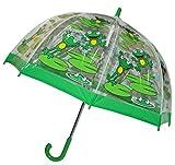 Unbekannt Regenschirm Frosch - Kinderschirm transparent Ø 70 cm - Kinder Stockschirm Regenschirm - für Mädchen Jungen Schirm Kinderregenschirm / Glockenschirm Tiere Frö..