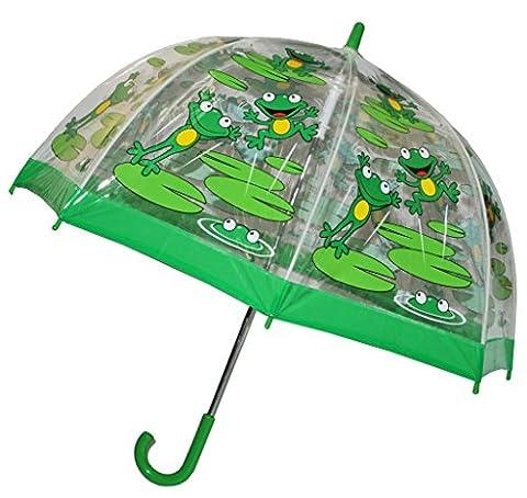 Regenschirm Frosch - Kinderschirm transparent Ø 70 cm - Kinder Stockschirm Regenschirm - für Mädchen Jungen Schirm Kinderregenschirm / Glockenschirm Tiere Frösche