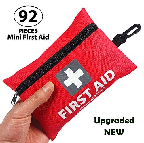 General Medi Premium Mini Kleine Erste-Hilfe-Kit Tasche 92 Stück - Inklusive Notfalldecke, Schere für Reisen, Zuhause, Büro, Auto, Camping, Arbeitsplatz