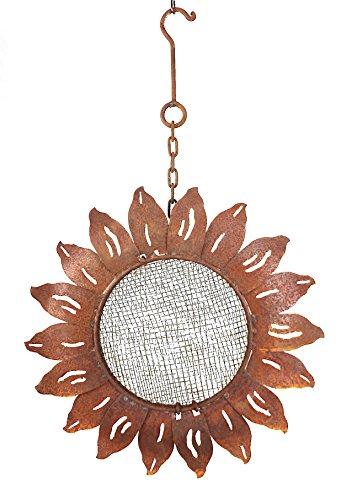 Vogelstation Sonnenblume Edelrost Vogelhaus aus Metall, naturbelassen Durchmesser 32 cm Höhe 50 cm