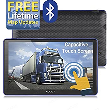 Xgody 886 Bluetooth 7'' 8GB ROM Built-in / 256MB RAM Capacitive Touchscreen Spoken Turn-By-Turn Directions SAT NAV Car Truck Navigation with SunShade Speed Limit Displays Lifetime Map Update(886BT+SC)