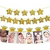 Veewon Alles Gute Zum Geburtstag Banner Glitter Gold Star Style mit Krone Meilenstein Foto Banner Garland Baby Kinder 1. Geburtstag Party Dekorationen