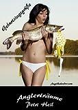 12 x Lustige Postkarte Geburtstagskarte für Angler (Diana mit Hecht)/Postkartengröße 15 cm x 10 cm/12 Postkarten/Versende einen Männertraum !