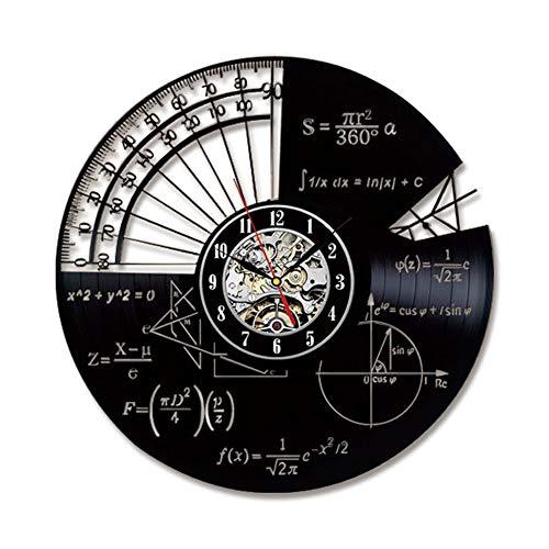 Horloge Murale Disque Vinyle Vintage Familles Décoration de la Chambre- Horloge de Conception de thèmes mathématiques Creuses Décorations murales Noir/Diamètre de 30 cm,A