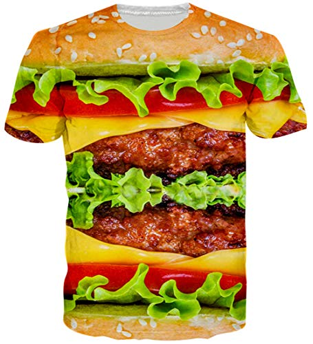 f11566c51 Loveternal Hamburger T-Shirt 3D Pattern Printed Casual Graphic Short Summer  Sleeve Tops Tees for