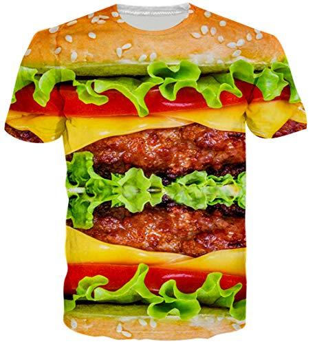 Loveternal Herren Hamburger T-Shirt Realistische 3D-Muster Gedruckt Casual Graphic Kurzarm Tops Tees L
