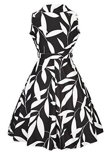 Donna Vintage Dress V-Neck senza maniche con cintura Nero