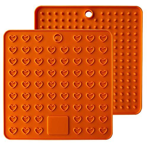 Baomasir 2 stücke Silikon Isoliermatte Platz Lebensmittelqualität Honeycomb Topflappen rutschfeste hitzebeständige Platzdeckchen für Pot Pan Bowl Cup,Orange,