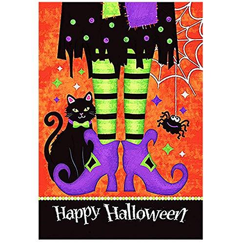 Odeletqweenry OHLEY Gartenflagge Trick or Treat Hexenfüße 12,5 x 18 schwarz Kitty Spinne Deko Happy Halloween doppelseitige Gartenflagge (Happy Halloween Kitty)
