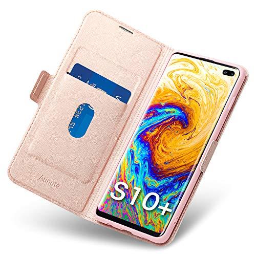 Aunote Samsung Galaxy S10 Plus Hülle, Galaxy S10 Plus Schutzhülle mit Kartenfach, HandyHülle Tasche Leder - Etui Folio/Flip Cover Case (PU + TPU) Klapphülle Komplettschutz 6.4