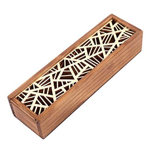 Baoblaze Retro Holz Federstift Stift Organizer Box Federmäppchen Stifthalter - Geometrischer Patch