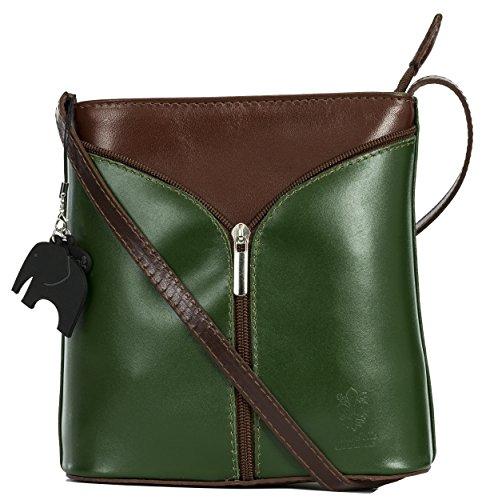 BHBS Kleine Damenumhängetasche aus echtem italienischem Leder 18 x 20 x 6 cm (B x H x T) Deep Green - Brown Trim