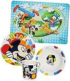 4 tlg. Geschirrset Mickey Mouse - Porzellan Trinkbecher + Teller + Müslischale + Unterlage - Kindergeschirr Keramik Frühstücksset für Kinder Jungen Mädchen - Frühstück Geschirr - Micky Goofy Hund