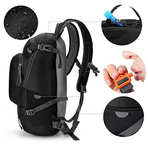 Andake Rucksack, Ultralight & Durable 30L Daypack mit Regenschutzanzug als Wanderrucksack & Laptop Rucksack, am besten für das tägliche Leben, Outdoor Camping, Wandern und Reisen Black
