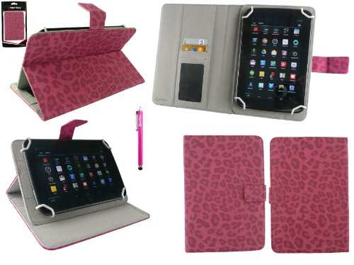 Pad T1 7 Zoll Tablet Universalbereich Faux Wildleder Leopard Hot Rosa Multi Winkel Folio Executive Case Cover Wallet Hülle Schutzhülle mit Kartensteckplätze + Hot Rosa Eingabestift ()