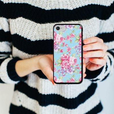 Apple iPhone X Silikon Hülle Case Schutzhülle Retro Frühling Flower Hard Case schwarz