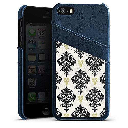 Apple iPhone 5s Housse Étui Protection Coque Ornements Motif Motif Étui en cuir bleu marine