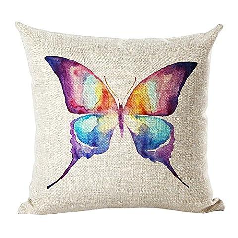 Coolsummer Housse de coussin décorative rétro vintage Motif fleurs et papillon carrée en coton 45,7x 45,7cm, Lin, UKS019A13, 18x18