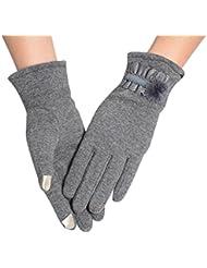 Malloom® Mujer invierno antideslizantes térmicas deportes Pantalla tactil guantes (gris)