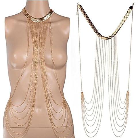Gudeke Collar de la Cadena del Bikini Cuerpo de la Cruz Enlace a la Cadena del Cuerpo en Capas Multi-vientre de la Cintura del Arnés del